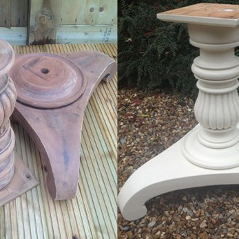 Ornate wooden table base
