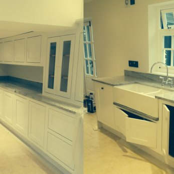 Handpainted aged and glazed kitchen